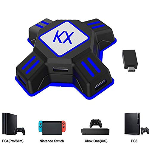 KX Mouse Keyboard Converter, Game Controller Adapter para USB 2.0 Mouse Adaptador de teclado ratón Compatible con PS4 / Xbox One / Nintendo Switch / PS3 / Xbox360 / Xbox360 Slim